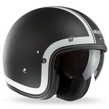 HJC FG-70s Open Face Motorcycle Helmet in the Heritage Black and White graphic from Branded Biker, the UK dealer and stockist of HJC Motorcycle Helmets and Accessories. FREE UK DELIVERY.