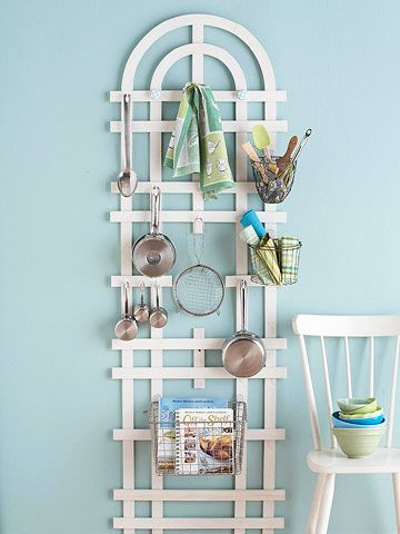 Garden Variety. Cute especially if you love to garden. And have wall space for this!: Wall Spaces, Small Kitchens, Gardens Trellis, Diy Craft, Kitchens Utensils, Storage Ideas, Kitchens Storage, Diy Projects, Kitchens Organizations