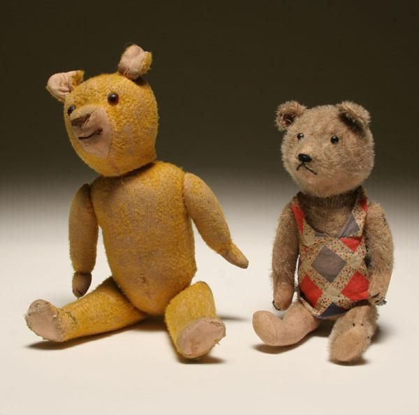 Early Jointed Mohair Teddy Bears Growler 2pc