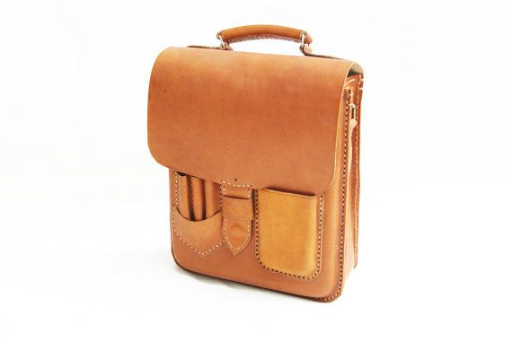 Brown Leather Bag Stationery Holder by CoruscateLeatherBag on Etsy, $175.00