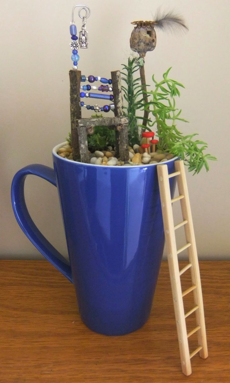 Fairy garden in a mug brings the imagination inside your home!