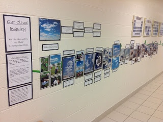 "Our Kindergarten Journey suggests you 'walk the walls' to learn about their inquiry ("",)"