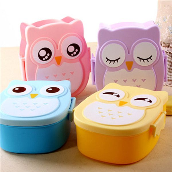 Fashion Cute Owl Plate New Portable Microwave Bento Plate Cartoon Tableware Dinnerware Cutlery for Kid Food Bowl