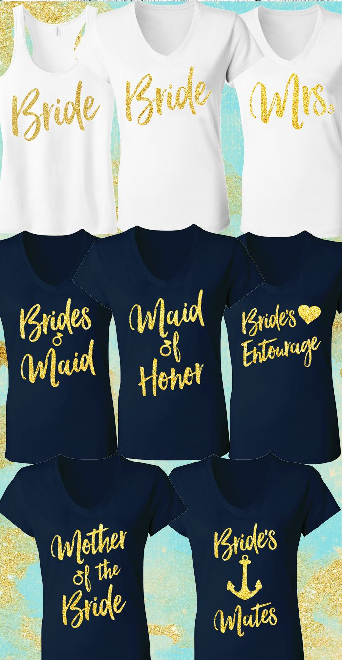 Beautiful Navy Blue and Gold #WEDDING & #BRIDAL Shirts from www.MrsBridalShop.com. Perfect for the Dress Fitting, Wedding Events, Bachelorette Party, Wedding Rehearsal, and morning of!