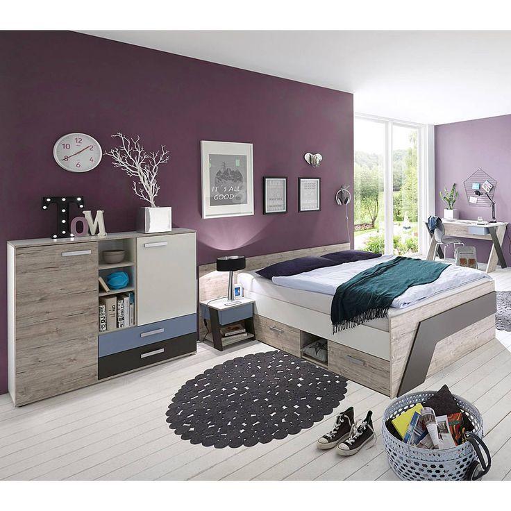 Jugendzimmer Mit Bett 140200 Cm Und Schreibtisch 4 Teilig Leeds 10 In Sandeiche Nb Mit Weiss Lava Und Denim Blau K Jugendzimmer Komplett Kinderzimmer Haus Deko