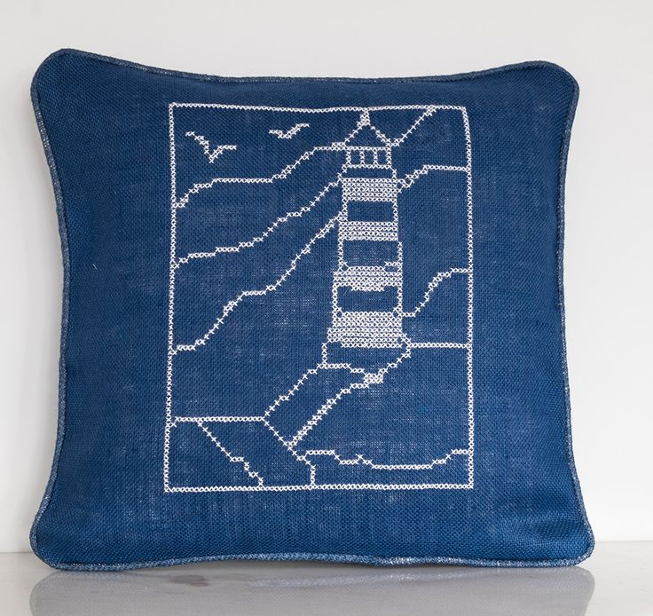 Summer House, Beach House Decorative Handmade Burlap Pillow Cover, Cross stitch …
