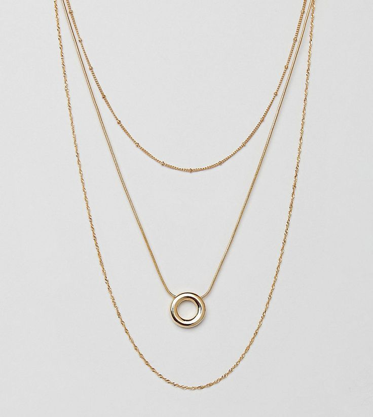 ASOS Gold Plated Circle Multirow Necklace - Gold
