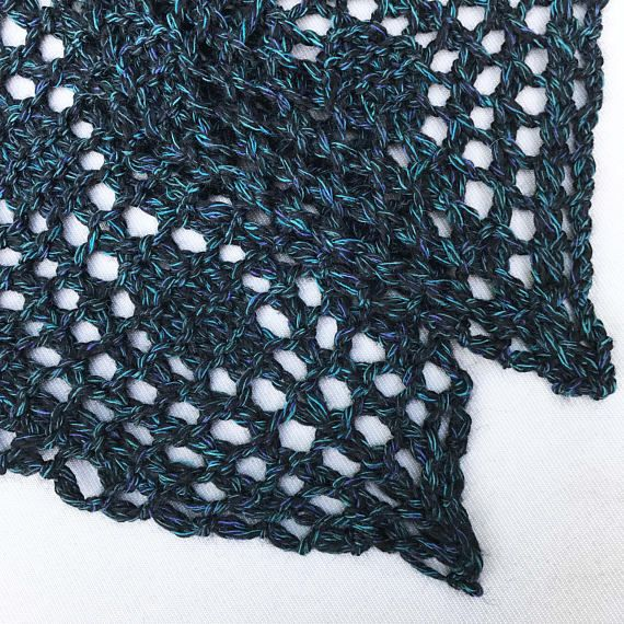 Chunky Knitted Lace Scarf in Blue Turquoise and Black.