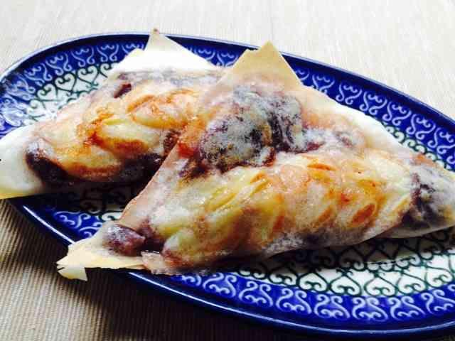 バナナあんこもちのおやつ焼き春巻き カリもちトロッの簡単おいしいおやつです。 ビタントニオを使いますが、フライパンで焼いても出来そうです!