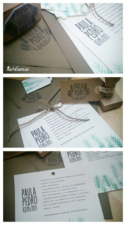 MaiteSAnz. Conjunto kraft y sello de caucho #invitaciones #boda #madrid #sellos #caucho #personalizados #wedding #idea #maitesanz