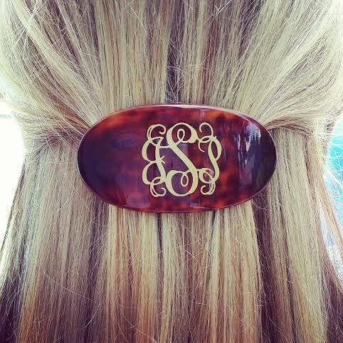tinytulip.com - Monogrammed Tortoise Barrette Hair Clip , $16.50 (http://www.tinytulip.com/monogrammed-tortoise-barrette-hair-clip)