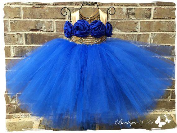 Vestido azul vestido de oro azul real vestido de la por Boutique321