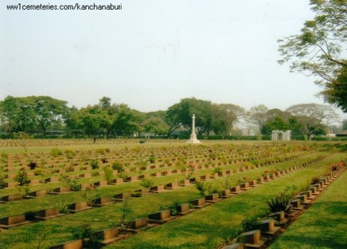 """Kanchanaburi Cemetary, Thailand.  This is a main WWII cemetary associated with the POWs who died at the hands of the Japanese during the construction of the Burma Railway.   Almost 7000 young men are buried here, mostly Australian, British and Dutch.  It's a very sad and moving place and I will never forget my visit there. This cemetary is very close to the """"Bridge over the River Kwai""""."""