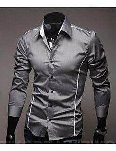 6eeae708705 Men s Work Cotton Slim Shirt - Solid Colored Basic Spread Collar   Long  Sleeve