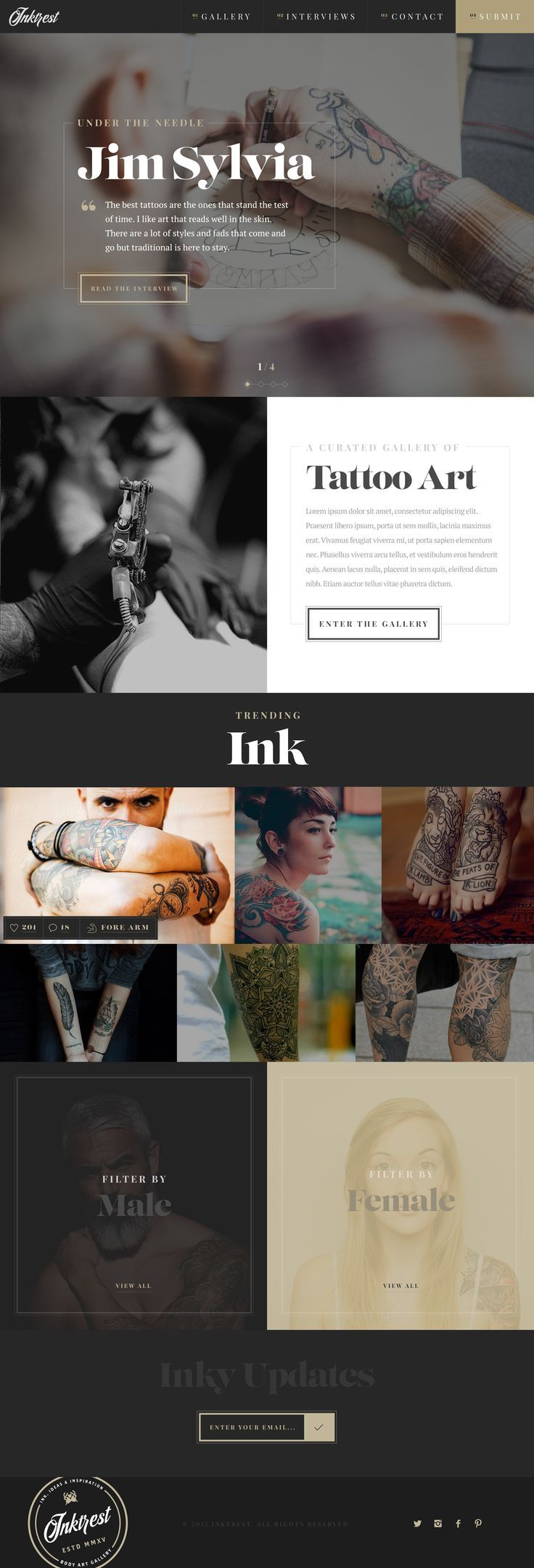 I always love the use of a strong font!   Inktrest Landing Page by Green Chameleon