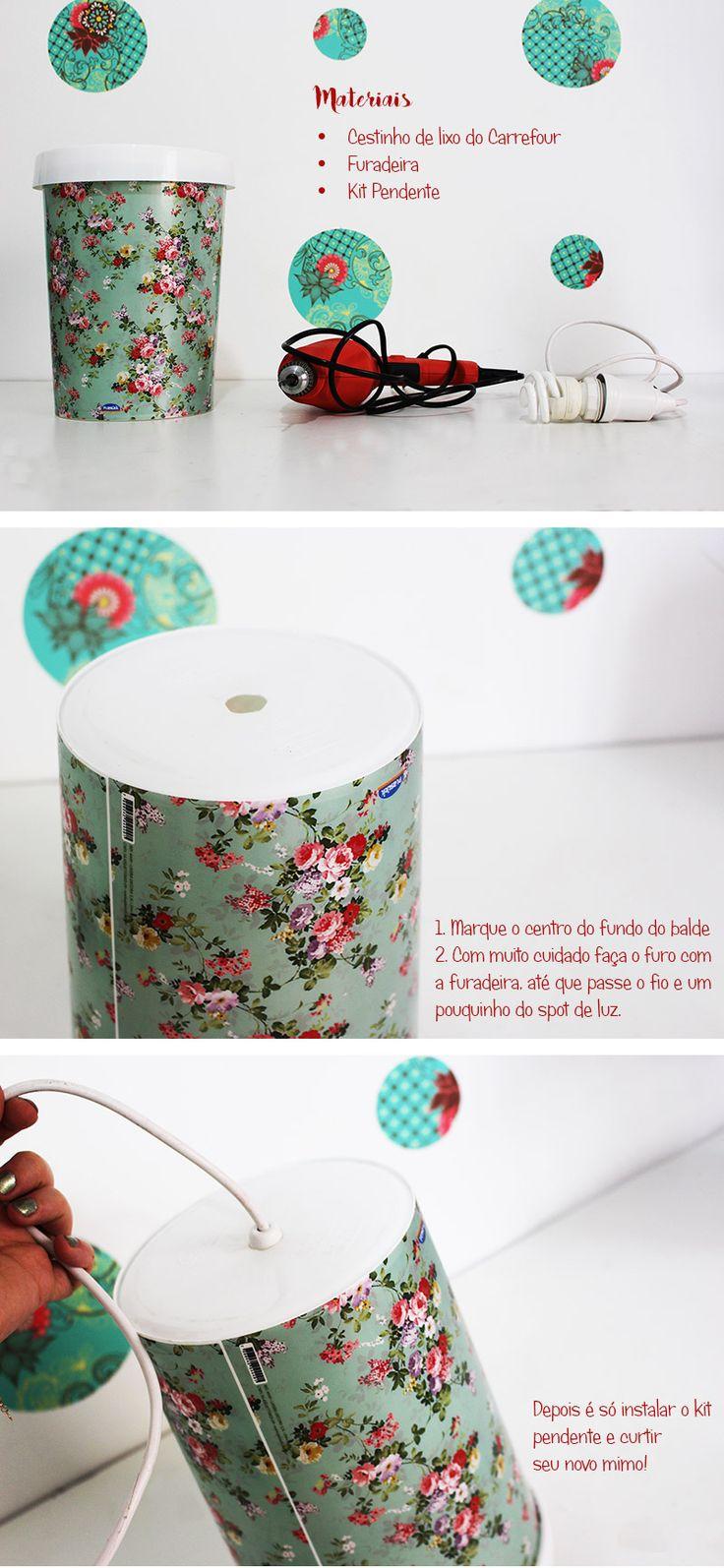 Com este DIY você transforma sua Lixeira Plasútil em uma linda luminária artesanal com essa super dica do Blog Remobília!