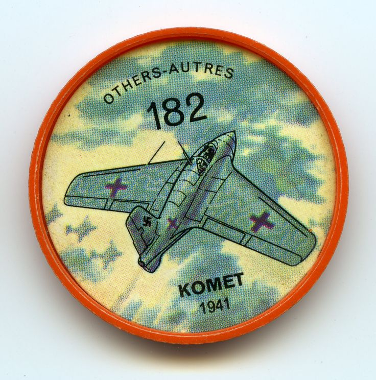 Jell-O Coin 182 - Komet (1941) - The only rocket-driven interceptor to see service during the Second World War was Germany's audacious Messerschmitt ME-163 Komet. When it appeared in limited numbers late in the war it enjoyed considerable success against Allied bomber formations. But landing accidents caused by exploding rocket fuel were frequent. Specifications: Wing span 30 ft., 7 in. Length 18 ft., 8 in. Speed 596 mph. Power from one 3,750 lb. thrust Walter rocket engine.