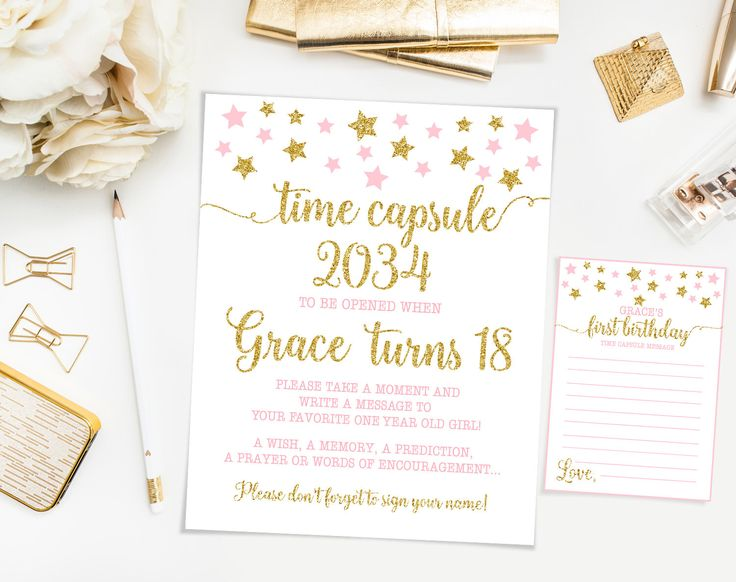 Time capsule first birthday, pink And gold , twinkle twinkle little star first birthday party, printable by Kattygoodparty on Etsy https://www.etsy.com/listing/505899775/time-capsule-first-birthday-pink-and
