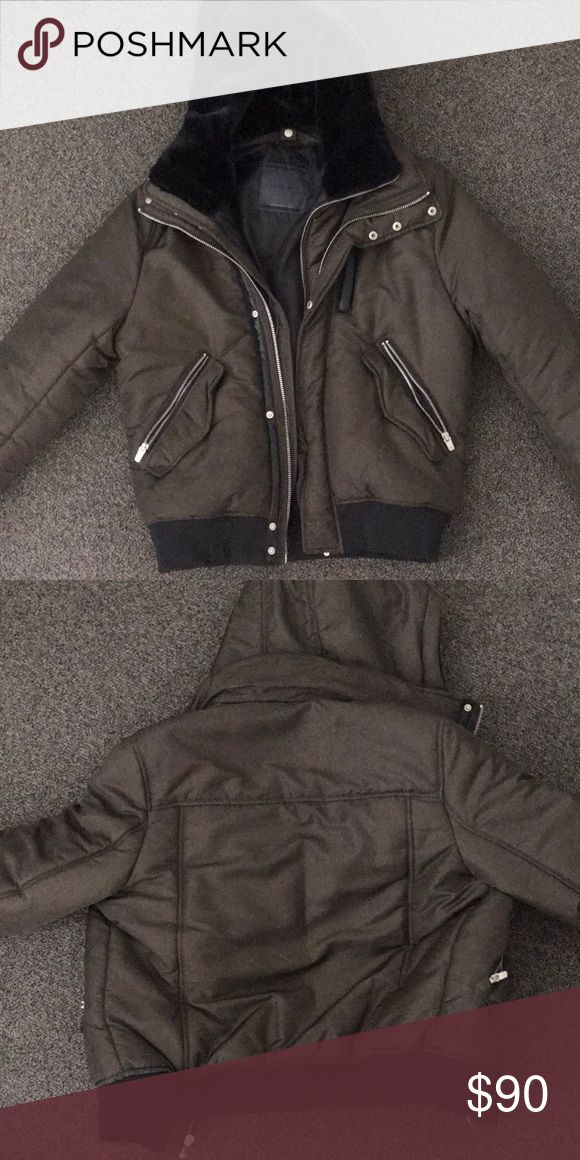 Zara Winter Jacket Heavy jacket. Detachable hood, turns into a bomber. Flawless condition. Will ship out next day. Open to negotiations, will respond to offers within the hour! Zara Jackets & Coats