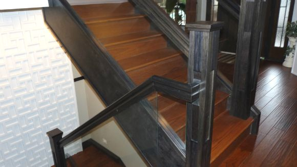 Wood and glass stair railings Vancouver