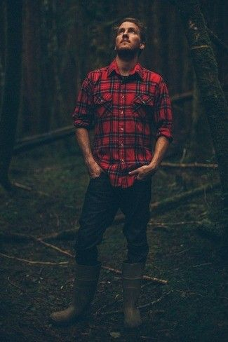 Men's Red Plaid Long Sleeve Shirt, Navy Jeans, Olive Rubber Boots