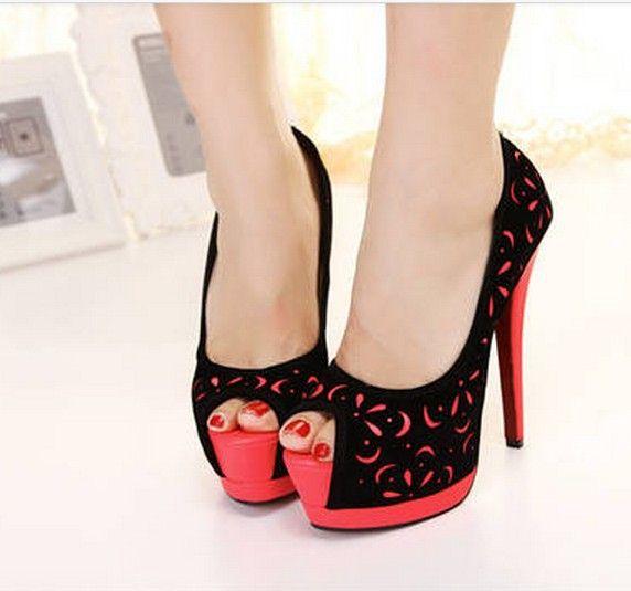 2014 nueva Zapatos Mujer Sexy para Mujer ' Stilettos plataforma inferior rojo de tacón bombas para Mujer de los Zapatos Peep toe 8