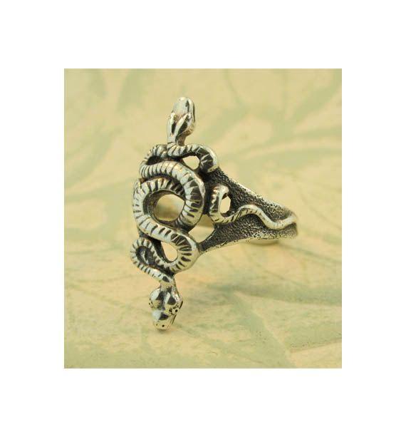 Silver Snake Ring  Alpha Omega Snake Ring  Snake di martymagic, $95.00