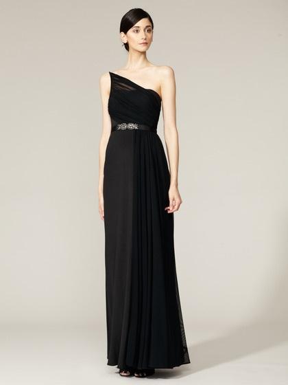pretty. :) simple and elegantLong Black Dresses, Monique Lhuillier, Oneshoulder Gowns, Dresses Style, Elegant Dresses, Brides Dresses, Bridesmaid Gowns, Black Evening Dresses, The Brides