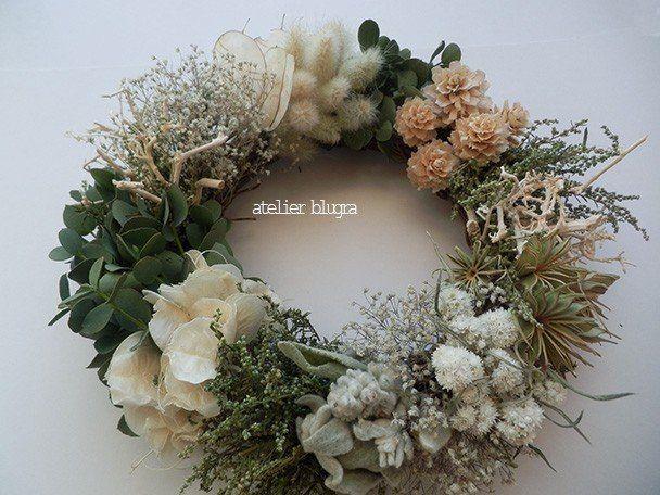 八ヶ岳〜(新作)ふわふわ初雪Wreath01 - アトリエ ブルグラ
