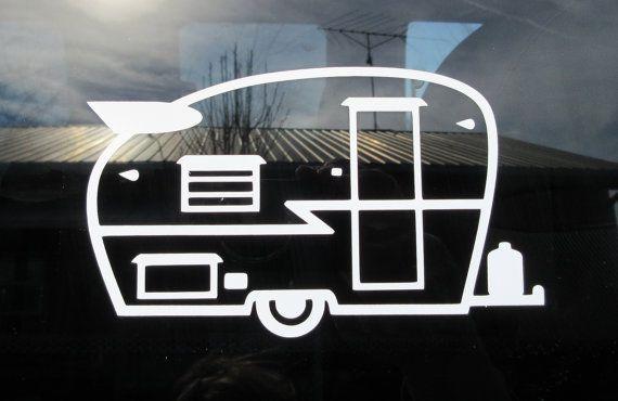 Retro Travel Trailer - Car Window Vinyl Decal - Shasta Trailer - Canned Ham - Camper Decor - Caravan - Camping Decor - Camper Sticker - Camp
