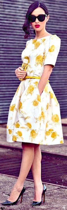 Yellow Wedding Guest Dress Floral Flower Dress for Women,Bridesmaid,Summer,Party,Spring Outfit IDea 20 Floral Dress You Should Try This Spring - Style Spacez