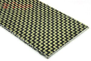 DragonPlate solid Carbon/Kevlar hybrid sheets are ideal for applications where a balance between stiffness and toughness must be achieved. Although Kevlar is not as stiff as carbon fiber, it offers higher puncture and fracture toughness. Because it is a tougher material, however, these panels may be slightly more difficult to trim than our standard carbon fiber sheets.