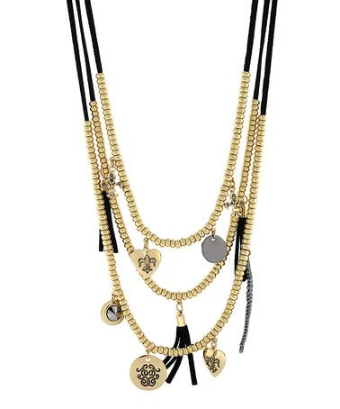 Another great find on #zulily! Gold & Black Bead Tassel Charm Necklace by Jessica Simpson Collection #zulilyfinds