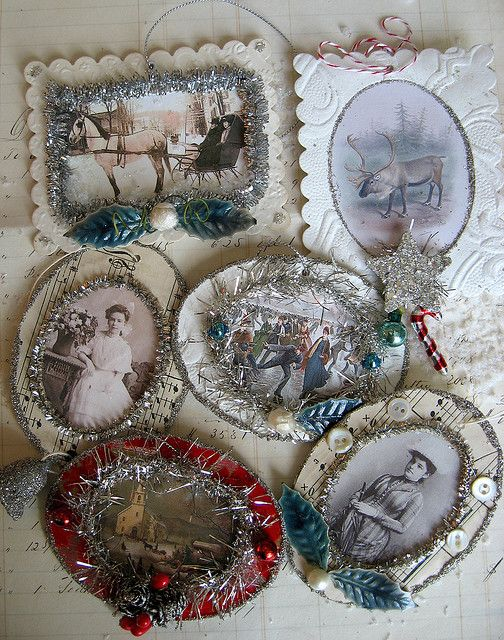 Tinsel Christmas Card Ornaments. Like the vintage look and using great old family photo's