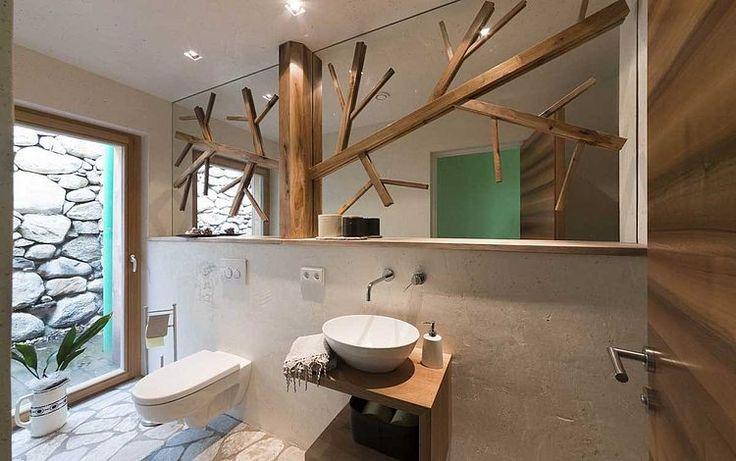 Rustikales design mit stein holz und beton ideen rund - Nischenregal badezimmer ...