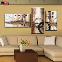Hiçbir Çerçeveli El Boyalı 3 Panel Tuval Sanat Kahverengi Duvar Ev Dekor Soyut Yağlıboya Resim Ev Dekorasyon Büyük(China (Mainland))