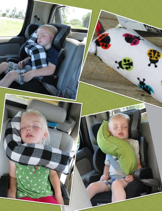 erGO BABY Bendable baby / toddler headrest carseat pillow and cover in Multi Ladybugs