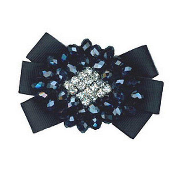 Broche de diamantes de imitación y perlas negras Pin de nuevo