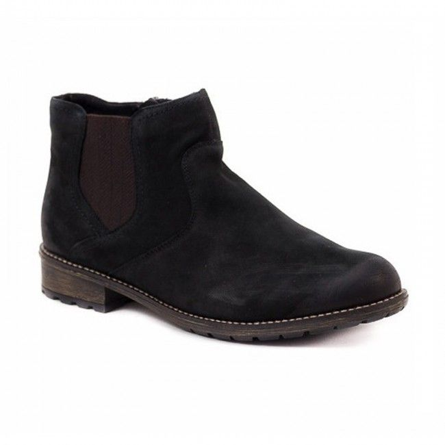 Women's boots in black. Soft, interior, removable tread rubber on the side for better fit and rubber sole for comfortable walking .In large sizes 42-45 from Remonte Dorndorf.