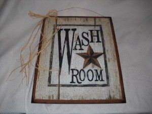Amazon.com: Wash Room Barn Star Outhouse Sign Country Bathroom Decor Wooden Wall Art: Home & Kitchen