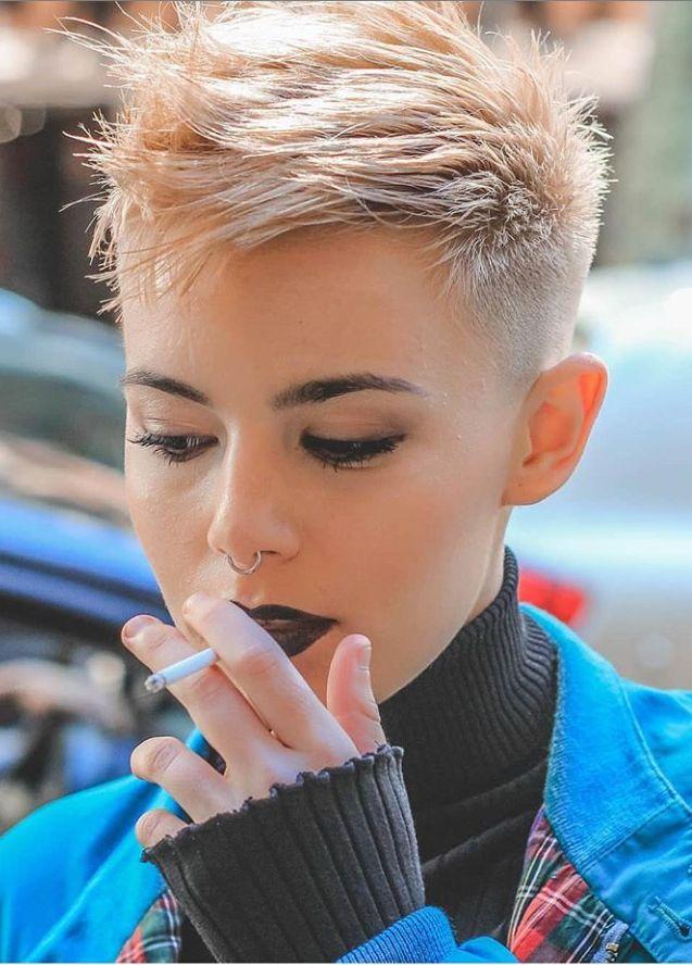 Short white pixie haircut, short haircut ideas, white pixie haircut, ash white hair color, short hairstyle, #Haircuts #ShortHair #Pixie #Shortpixie #WhitePixie
