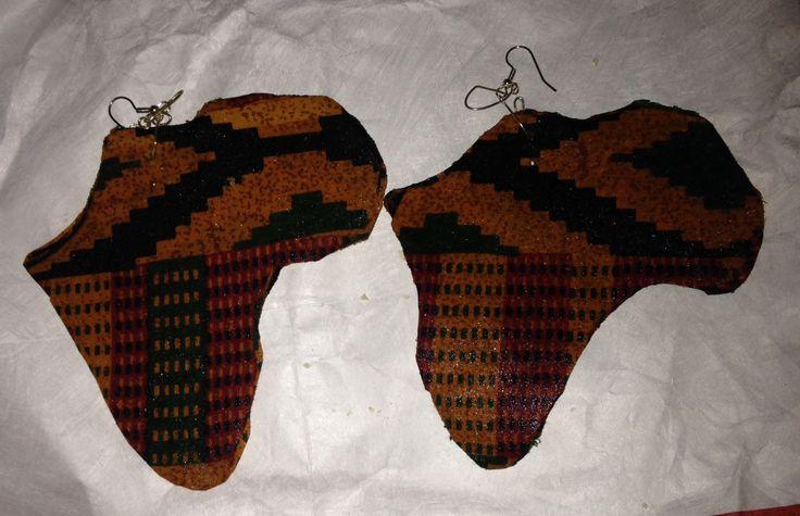 Africa Shaped African print Earrings.  Kente Cloth.