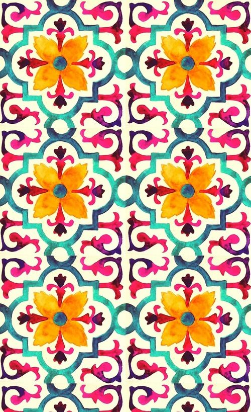 Tile style print/pattern/design. Lovely colour combo.