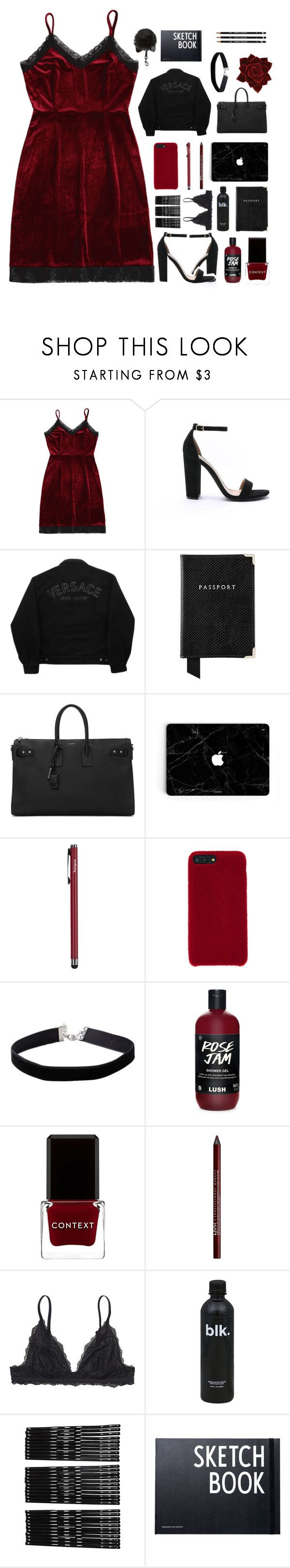 """""""мy вlood, ѕwəaт and тəarѕ"""" by gucci-af ❤ liked on Polyvore featuring Steve Madden, Versace Jeans Couture, Aspinal of London, Yves Saint Laurent, Targus, Miss Selfridge, Context, Charlotte Russe, Monki and Design Letters"""