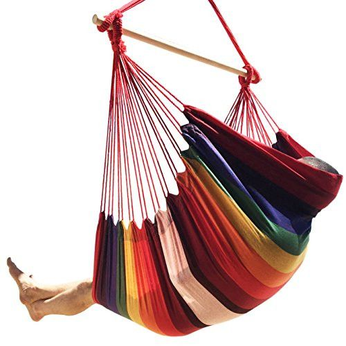 Large Brazilian Hammock Chair by Hammock Sky - Quality Cotton Weave for Superior Comfort & Durability - Extra Long Bed - Hanging Chair for Yard, Bedroom, Porch, Indoor / Outdoor (Hot Colors)