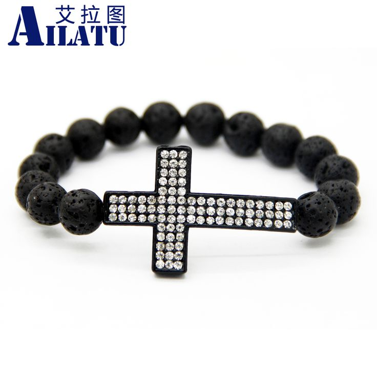 Ailatu New Design 10mm Lava Stone Beads Big Black Sideways Cross Bracelet Men's Beaded Honesty Jewelry Gift #Affiliate