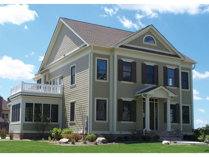 Colonial style home with beautiful side balcony - plan119S-0010 - houseplansandmore.com