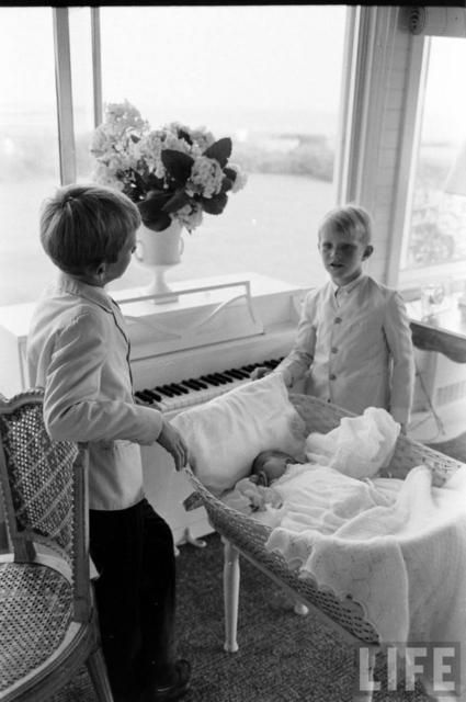 David and cousin Bobby Shriver with baby Chris Kennedy - Hyannis Port 7/19/63