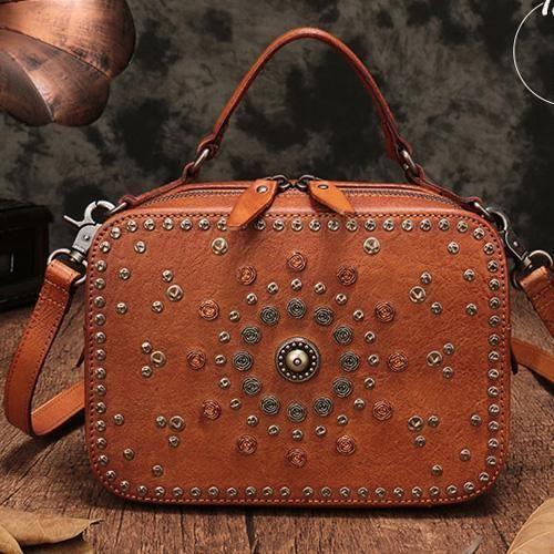 cd7af2a30a82 Vintage Leather Purse Clutch Cube Rivet Shoulder Crossbody Bags in ...