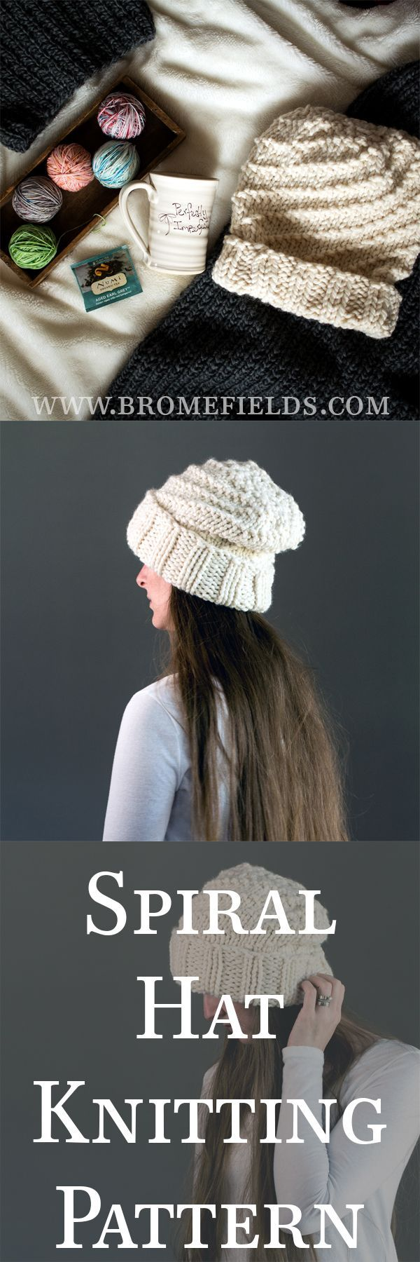 Spiral slouchy hat knitting pattern